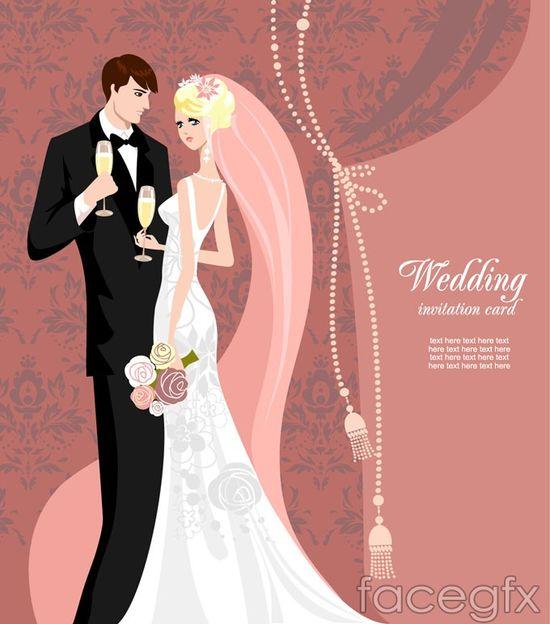 Romantic wedding cards design vector