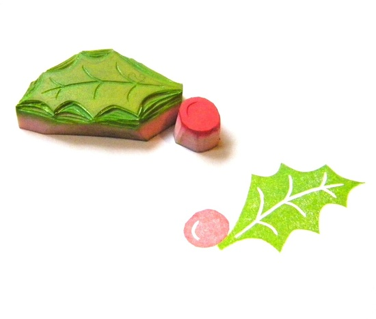 Holly leaf and berry hand carved rubber stamp by GreenGardenStamps