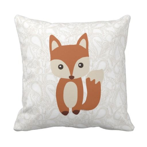 Cute Baby Fox Throw Pillows