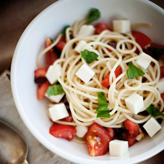 Spaghetti with Basil, Olives & Fresh Mozzarella // More Delicious Pastas: www.foodandwine.c... #foodandwine #fwpinandwin