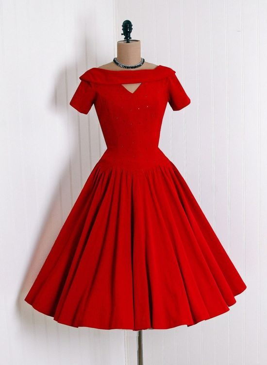 1950's Ruby-Red Cocktail-Length dress