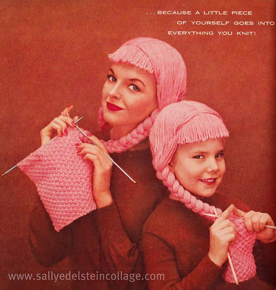 Wonderfully fun 1950s ad. #ad #knitting #1950s #vintage #fifties #pink #crafts