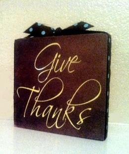 Thanksgiving Craft Idea - wood block, Mod Podge & vinyl lettering