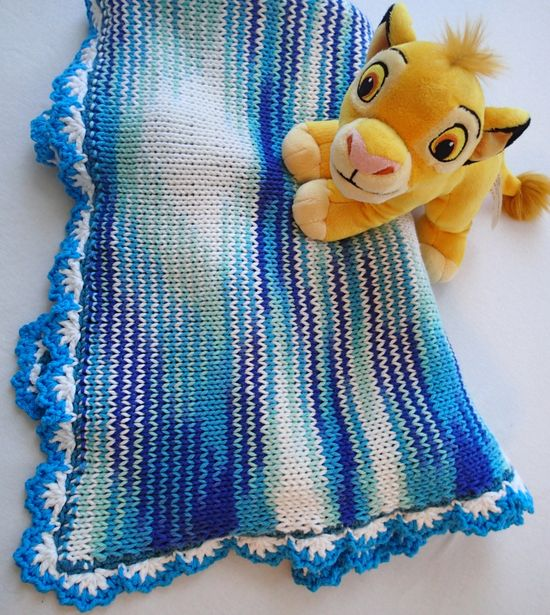 Knitted blanket for a baby boy