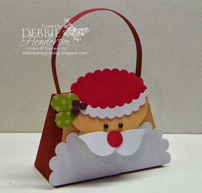 Stampin' Up! Petite Purse Die Santa purse by Debbie Henderson, Debbie's Designs.