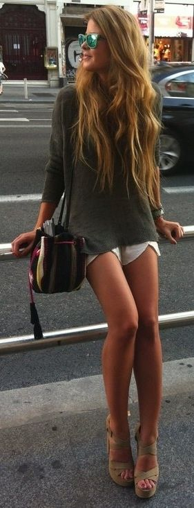 Oversized Sweater Fall 2013 and those shorts are awesome