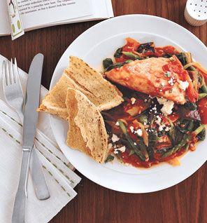 Feta Chicken With Greek Vegetables #Mediterranean #Recipe #SelfMagazine