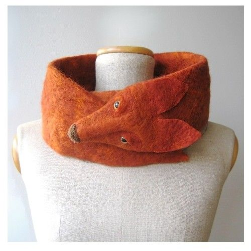 Wool felted fox scarf. Hand made