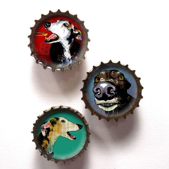 Upcycled Greyhound Pop Art Bottlecap Magnets Set by PopDogDesigns