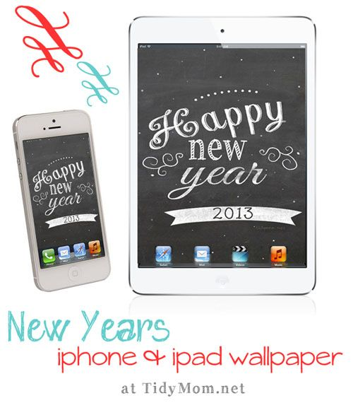 Desktop, iPhone, and iPad January Chalkboard Wallpaper