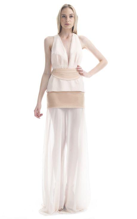 Paula Raia Two-Tone Illusion Gown  Ruffled Dresses #2dayslook #RuffledDresses #watsonlucy723  www.2dayslook.com