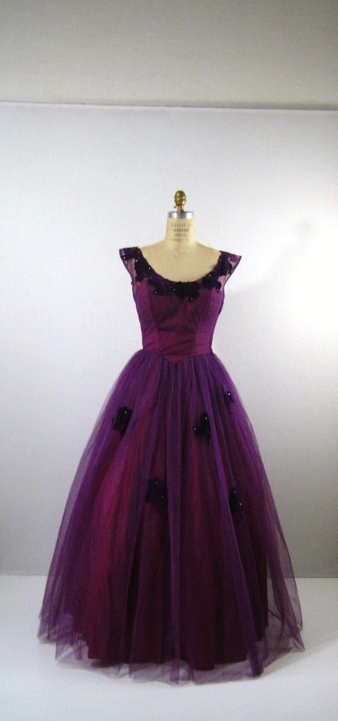 1950's Sweeping Plum-Colored Party or Prom Dress