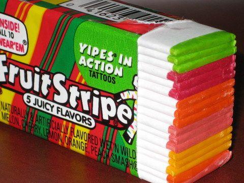 Yipes. Stripes. Fruit Stripe Gum. Had an animal for each flavor.