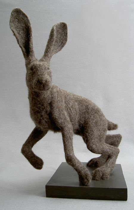 Jackrabbit study by sculptor Stephanie Metz in needle felt. check out her other amazing work on her website!