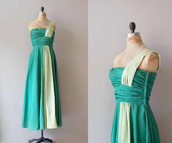 1940s ARTEMIS one shoulder gown