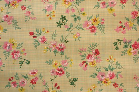 1920's Vintage Wallpaper pink floral on a green plaid so cute