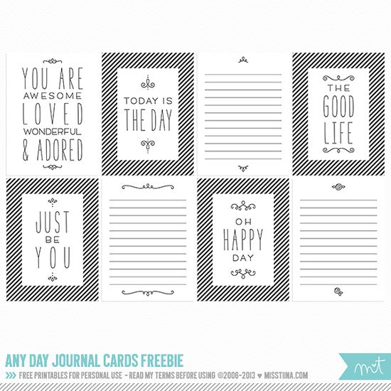Printable -- Any Day Journal Cards from MissTiina.com