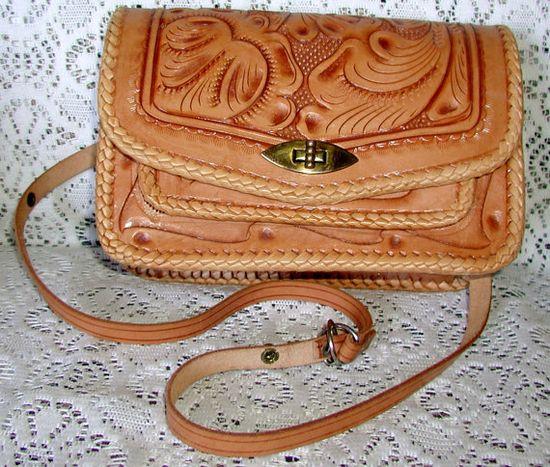 Sweet, Vintage Hand Tooled Leather Boho ~Chic Handbag