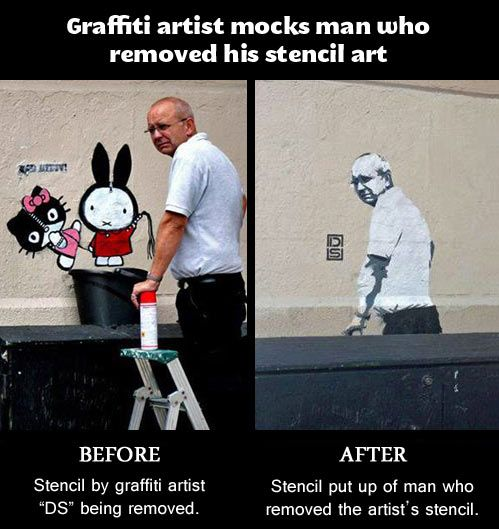 Graffiti artist mocks grumpy man...