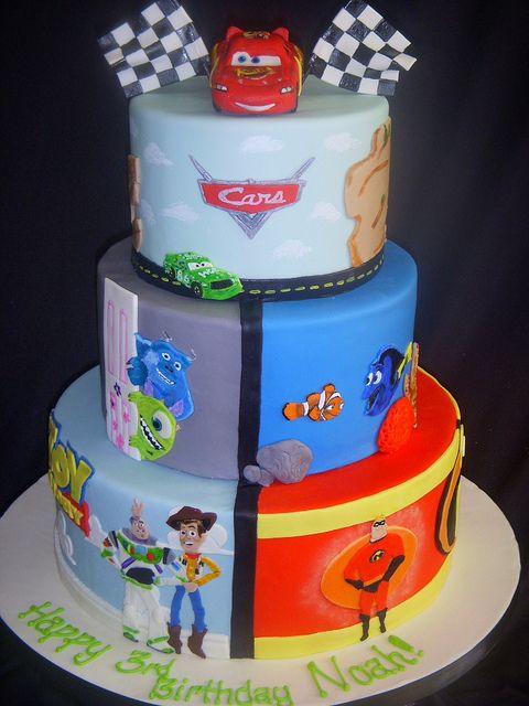 Wow! #birthday #cake #Disney #Pixar #Cars #MonstersInc #Nemo #ToyStory #Incredibles