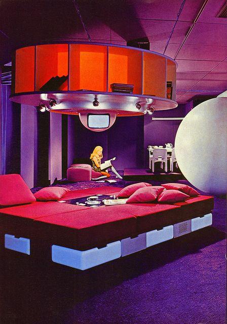 Visiona 1 Futuristic Habitat. Design by Joe Columbo. Detail from a Dralon ad in Domus, October 1969.