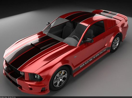 Ford Mustang 2008   Red paint with glossy black bumper to bumper double stripes with side stripes