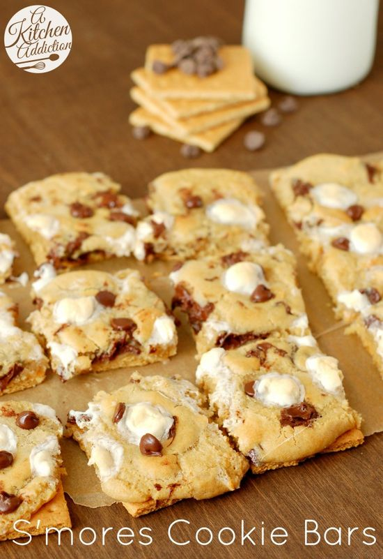S'mores Cookie Bars Recipe l www.a-kitchen-add...