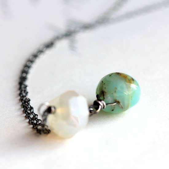 Peruvian Opal Necklace with Mystic White Chalcedony Nugget on Sterling Silver Chain - Pacific Drift