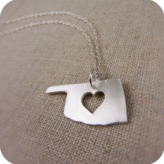 Silver Oklahoma State Necklace with Heart by DestinysCreations, $55.00