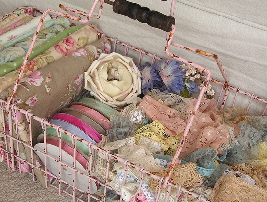 beautiful laces in vintage basket