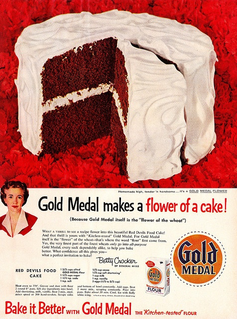 An early take on Red Velvet Cake: Betty Crocker's Red Devil's Food Cake. #cake #1950s #vintage #ad #Betty_Crocker #food #baking #cooking #dessert #red_velvet #Devils_food #chocolate