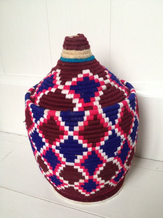 Vintage Moroccan handwoven berber basket 5 with Free UK Shipping