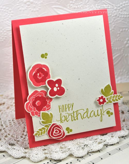 Floral Birthday Card by Dawn McVey for Papertrey Ink (June 2013)