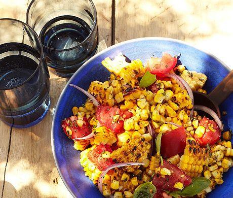 Charred Corn Salad with Basil and Tomatoes by bonappetit #Slald #corn #bonappetit