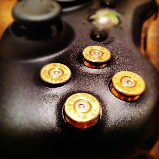 Xbox 9mm bullet button Controller Video Game Geekery gun brass shells handmade handcrafted handgun bullets games call of duty gears of war. $56.89, via Etsy.