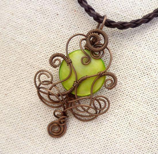 Wire wrapped jewelry / copper wire pendant with lime green mother of pearl by PillarOfSaltStudio