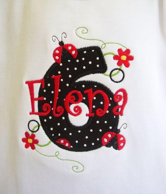embroidered Birthday T Shirt Ruffled Hem Puffy Sleeve Ladybug and polka dots
