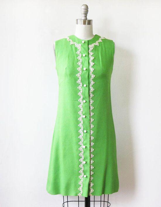 1960s green mod shift dress