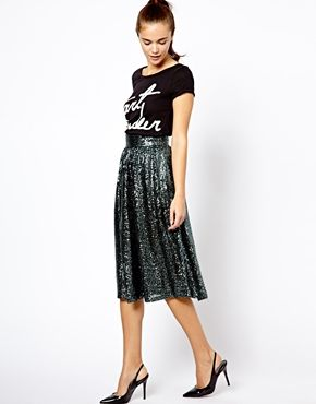 Image 1 of River Island Sequin Dirndle Skirt