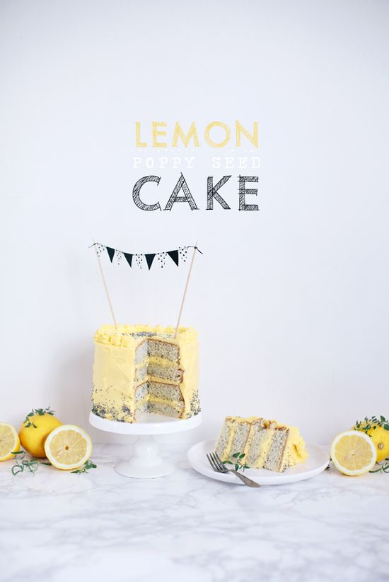 Lemon poppy seed cake with cream cheese frosting (recipe in Swedish and English)