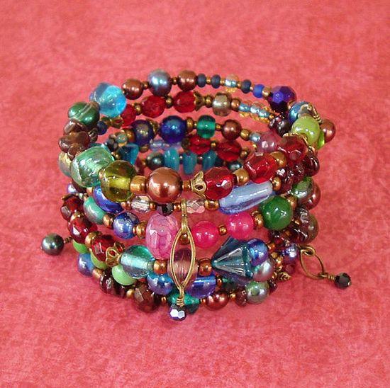Bohemian Bracelet Beaded Bracelet Boho Chic Wrap by BohoStyleMe