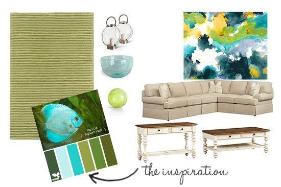 Living Room Design Board - Aqua and