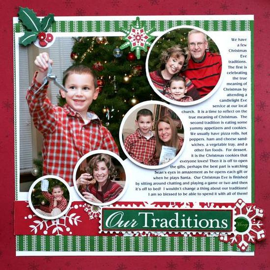 "scrapbook page layout ""Our Traditions"""