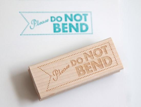 Do Not Bend Rubber Stamp (Wood Mounted), Original Modern Typographic Design B. $20.95, via Etsy.