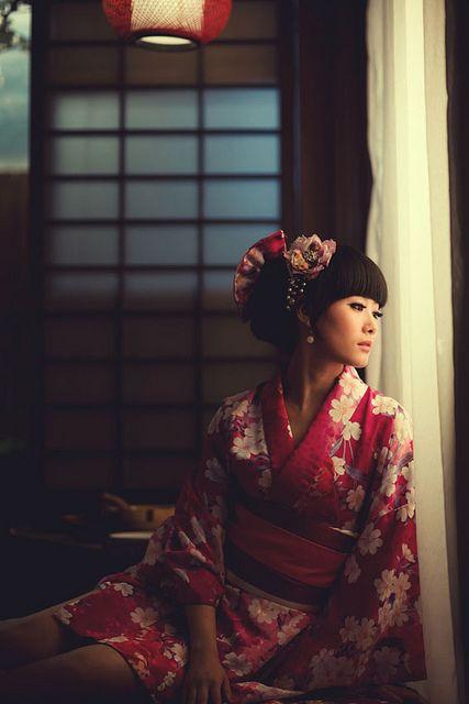 Sakura Blossoms #kimono #japan #japanese #flowers #pink #girl #window #hair