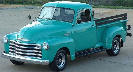 1953 Chevrolet... I'd settle for any 50's era truck and would love to convert it to electric. Old fashioned exterior with a modern interior.