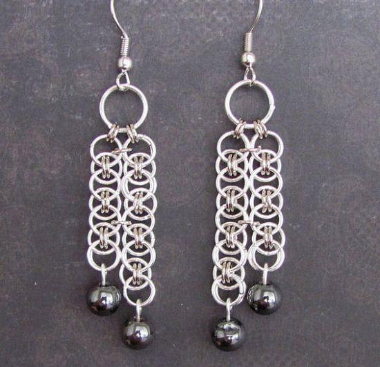 Hematite Cascade Chainmaille Earrings by TrinketsByM on Etsy