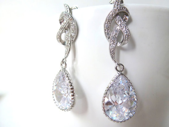 Bridal Jewel Knot Matte Silver Plated Rodium Cubic by lafinesse, $28.00