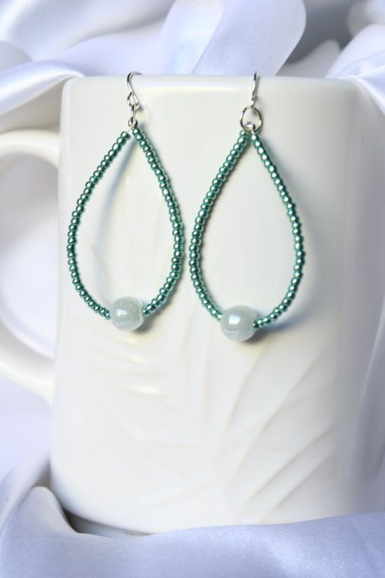 Green Beaded Hoop Earrings by ConceptAna on Etsy, $9.00