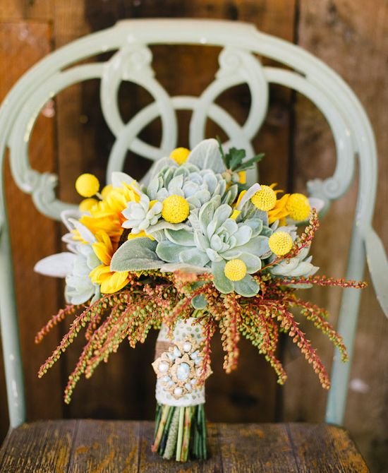 sunflower and succulent bouquet
